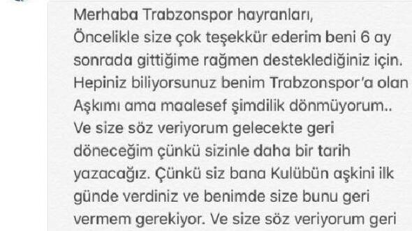 """Bongonda, Trabzonspor taraftarına söz verdi: """"Geri döneceğim"""""""