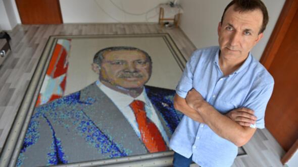 85 bin mozaikle Erdoğan portresi