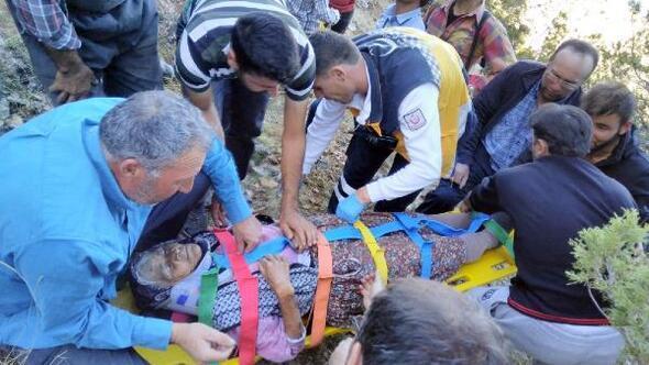 Kayalıklardan düşen yaşlı kadın yaralandı