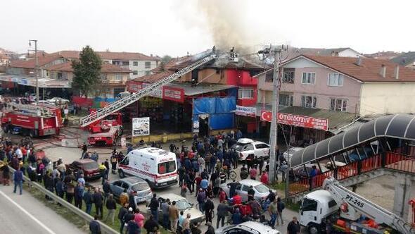 Lastik tamirhanesinde çıkan yangın evi de yaktı