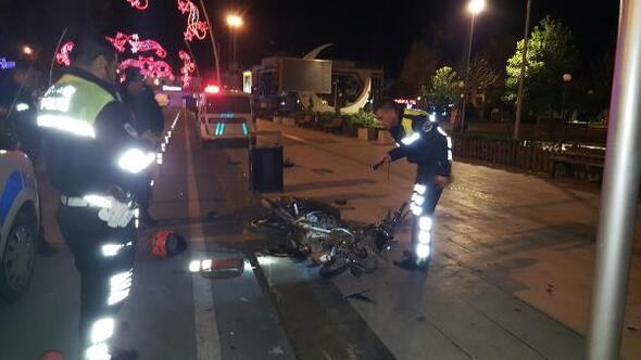 Çalıntı motosikletle polisten kaçarken kaza yaptılar