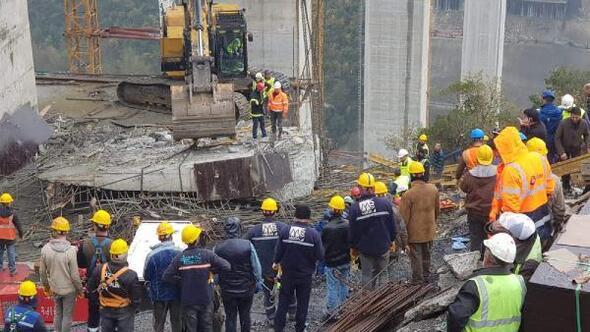 Kuzey Marmara Otoyolunda viyadük çöktü; işçiler enkaz altında/ Fotoğraflar