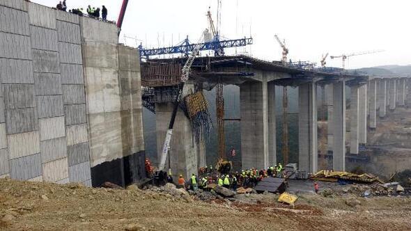 Gebzede viyadük inşaatı sırasında beton blok düştü; 4 işçi enkaz altında kaldı (3)
