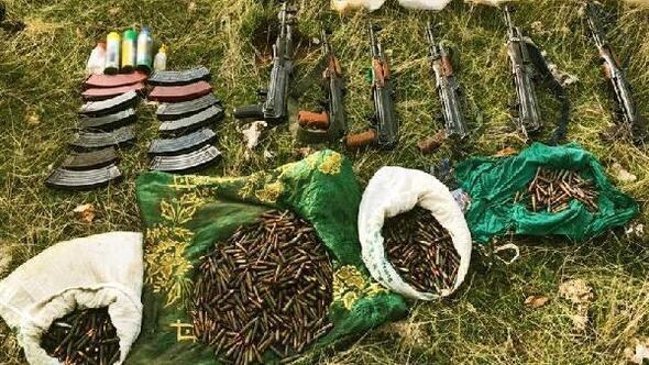 Terör örgütü PKKya ait 3 sığınakta 6 tüfek ele geçirildi