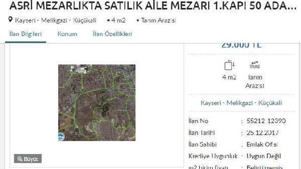 4 metrekare mezar yeri 29 bin TL