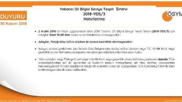 ÖSYMden, YDS/3 adaylarına Saat 10.00dan sonra sınav binalarına girişe izin verilmeyecek hatırlatması