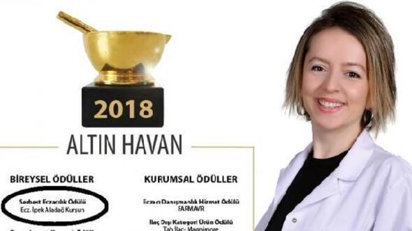Altın Havan Serbest Eczacılık ödülünü Lüleburgazlı eczacı kazandı