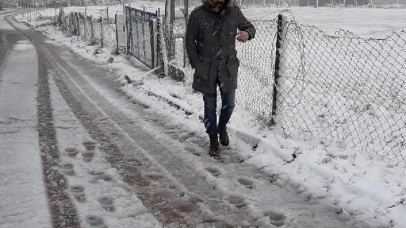Çatalcada kar yağışı