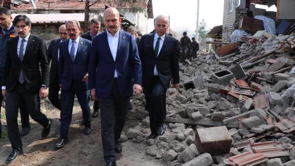 Bakan Soylu, depremin vurduğu Denizlide