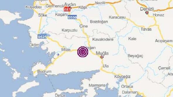 Muğlada 3.9 büyüklüğünde deprem