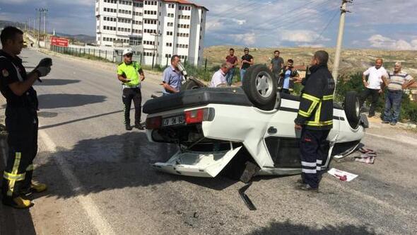 Çankırıda otomobil takla attı, emniyet kemeri hayat kurtardı