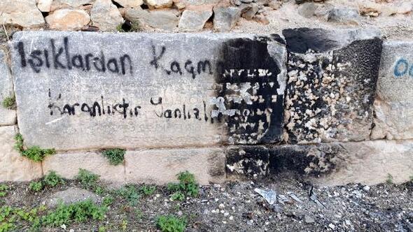 Bursada tarihi surdaki 2 bin yıllık kitabeye çirkin saldırı