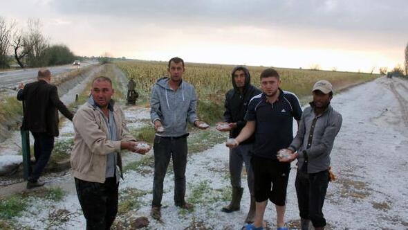 Aksarayda 45 dakika süren dolu yağışı tarım arazilerine zarar verdi