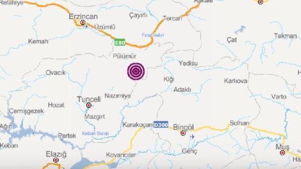 Pülümürde 3.9 büyüklüğünde deprem