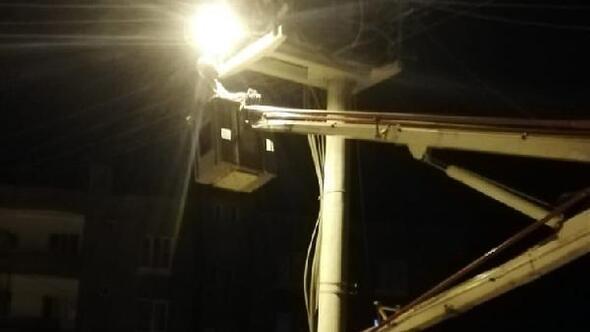 Nusaybinde sokak aydınlatma çalışması