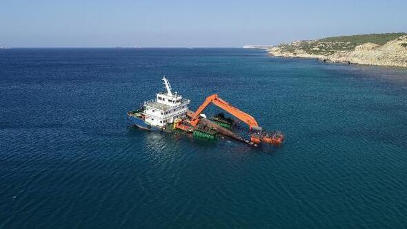 Karaya oturan liman tarama gemisi kurtarıldı