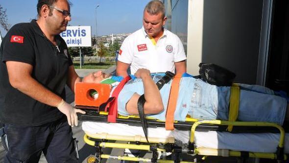 Otomobili şarampole yuvarlanan avukat yaralandı