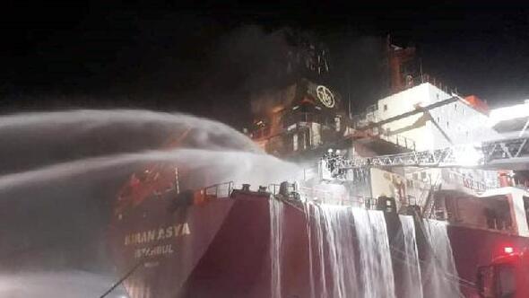 Atakaş Limanına yanaşan gemide yangın