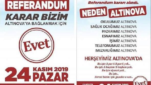 Yalova'nın Altınova ilçesinde referandum kararı