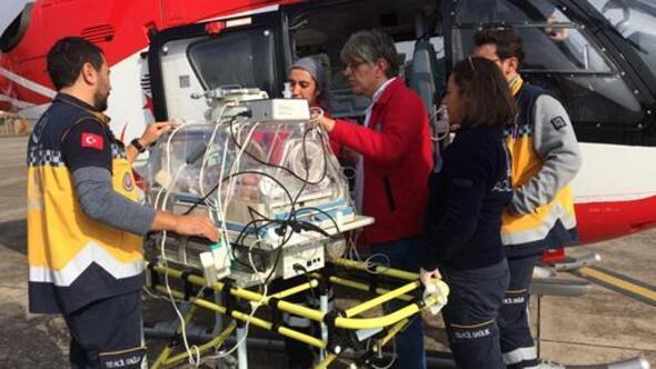 Ambulans helikopter 3 aylık bebek için havalandı