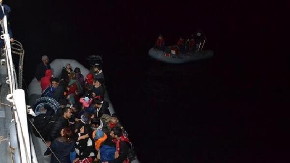 Lastik botta 28i çocuk, 58 kaçak göçmen yakalandı