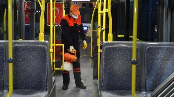 Başkentte toplu taşıma araçları dezenfekte edildi