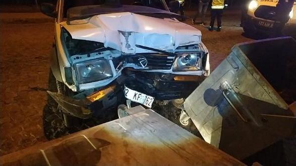 Edirnede alkollü sürücü kaza yaptı, 1 yaralı