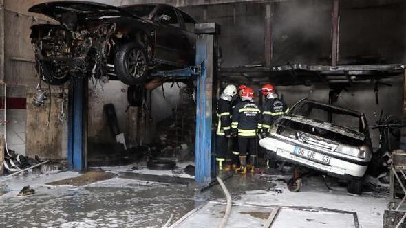 Oto tamir atölyesinde yangın: 1 yaralı