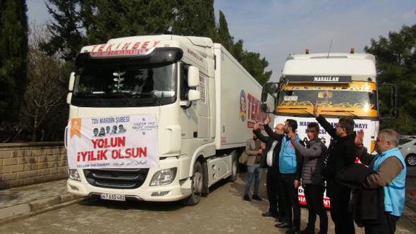 Mardinden deprem bölgelerine ve İdlibe 12 TIRlık insani yardım