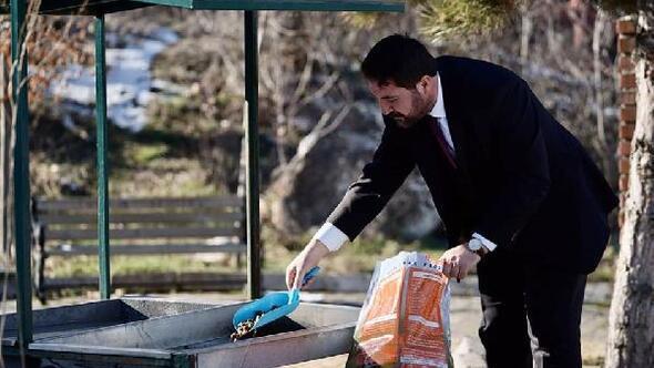 Turhalda sokak hayvanları için parklara yem bırakıldı