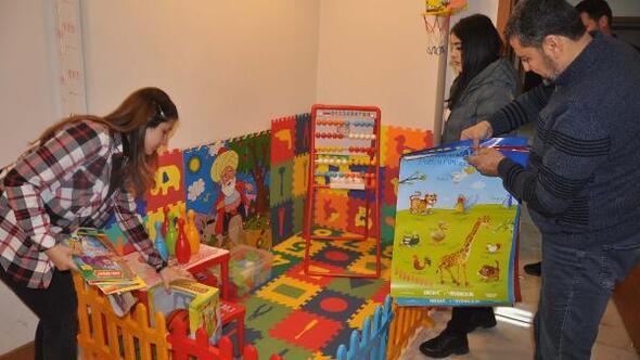 Aile İçi Şiddetle Mücadele Bürosunda, çocuklar için oyun parkı kuruldu