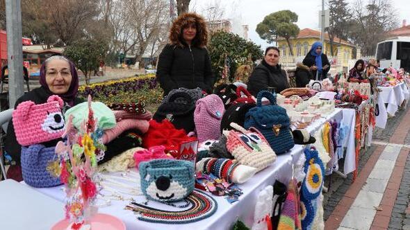 Edirneli kadınlar, Sevgililer Gününde el emeği standı açtı