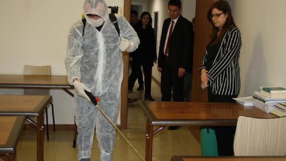 Koronavirüse karşı yurtlar dezenfekte edildi