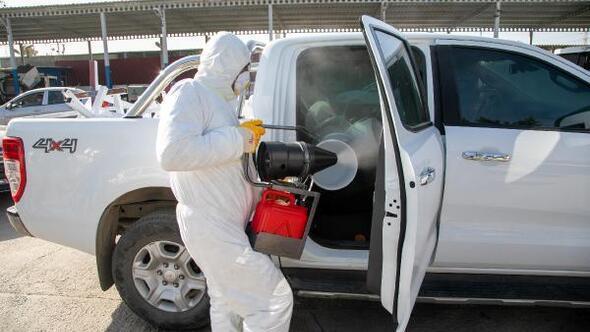 Bodrumda Belediyesinden araçlara ücretsiz dezenfekte hizmeti