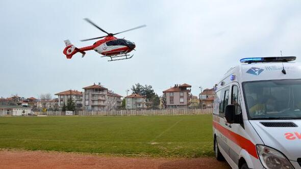 Ambulans helikopterle Antalyaya sevk edildi