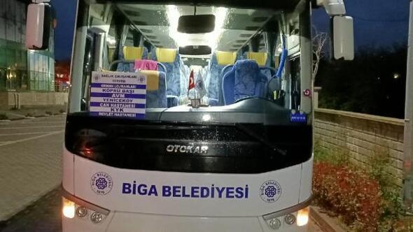 Biga Belediyesi'nden sağlık çalışanlarına ücretsiz servis hizmeti