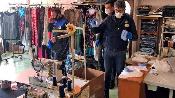Çiftlikköyde kaçak üretilen çok sayıda maske ele geçirildi