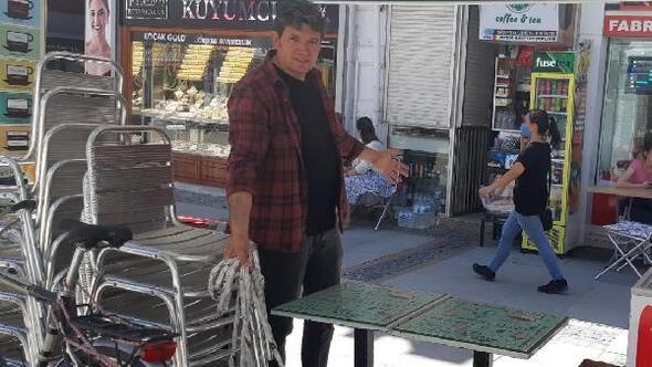 Edirnenin en işlek caddesinde işletmenin masalarını çaldılar