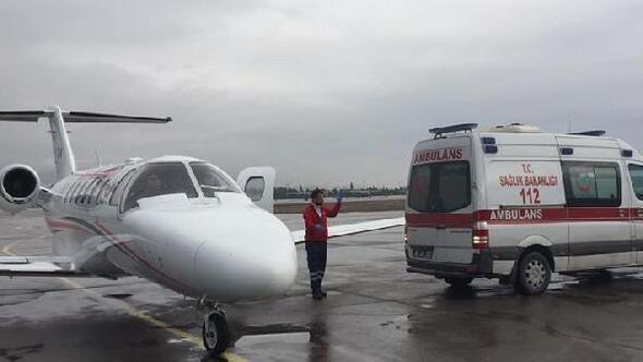 15 aylık Muhammed, hava ambulansı ile Kayseriye getirildi