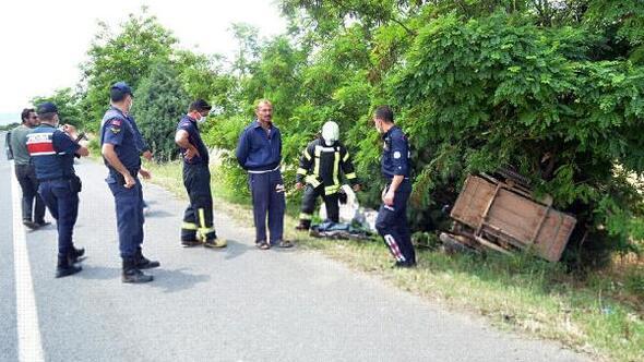 Devrilen sepetli motosikletinin altında kalıp, yaralandı