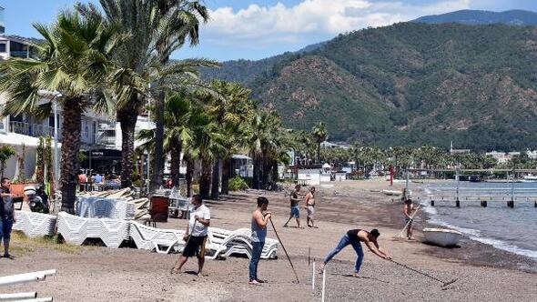 Marmaris plajlarında tedbirli sezon hazırlığı