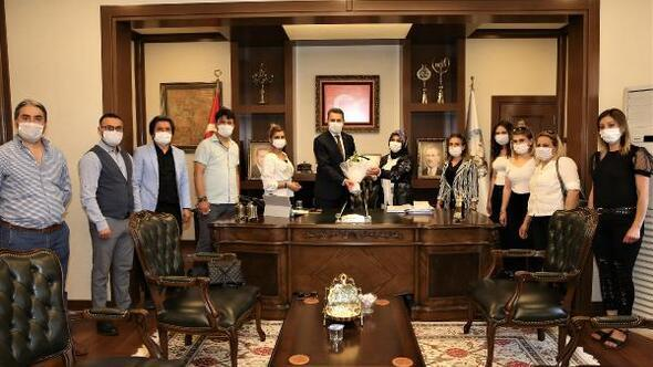 Başkan Eroğluna teşekkür ziyareti