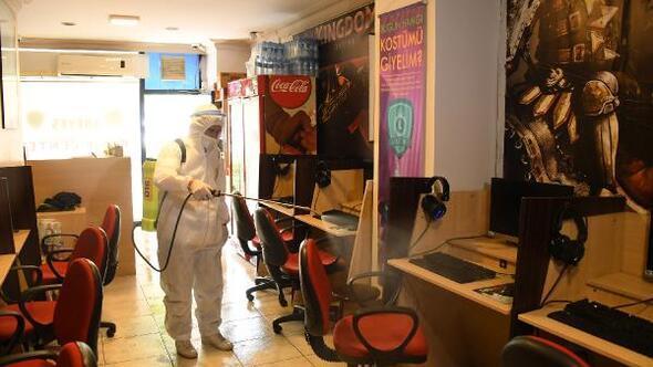 Büyükşehir Belediyesinden, kafe ve kıraathanelere dezenfeksiyon