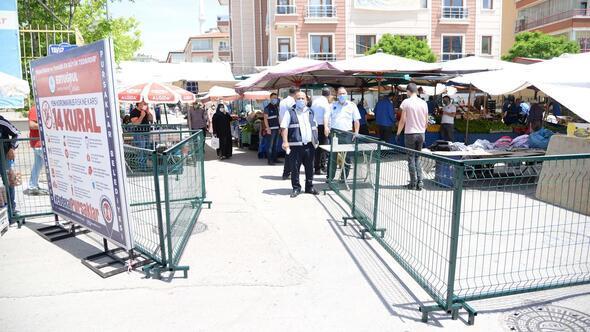 Kapatılan pazar tedbirlerle açıldı