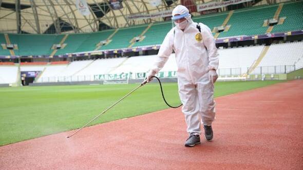 Demir Grup Sivasspor maçı öncesi stadyumun dezenfeksiyonu yapıldı