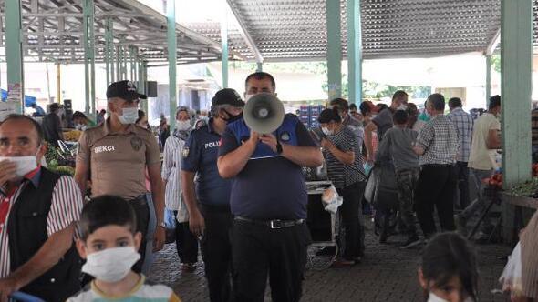 İslahiye semt pazarında maske uyarısı