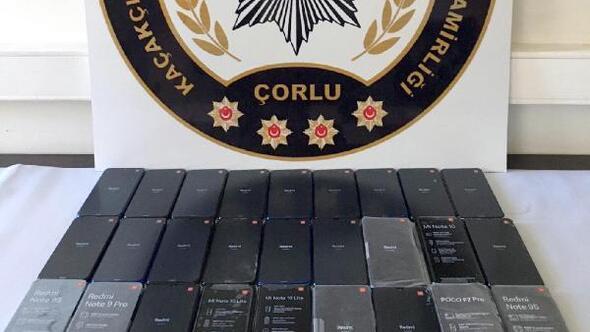 Tekirdağda 27 gümrük kaçağı telefon ele geçirildi