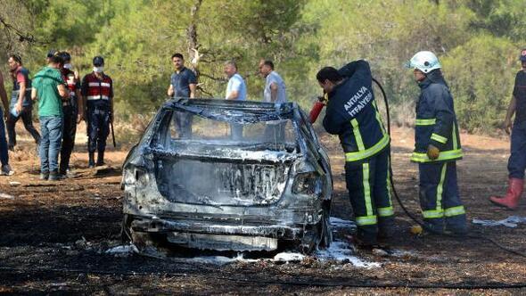 Ormanda lüks araç yandı