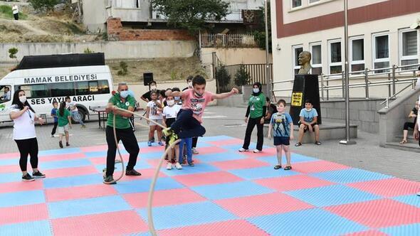 Çocuklar sporla doyasıya eğlendi