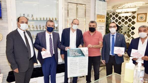KTO Başkanı Gülsoydan çarşı esnafına maske ve mesafe denetimi